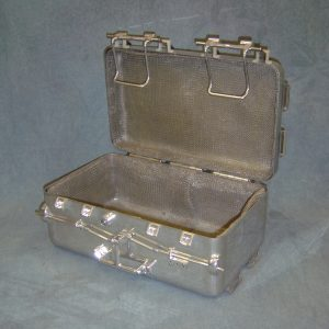 An aluminum replica of the seal box used to return samples from the moon.