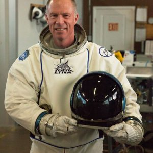 Shuttle Commander Rick Searfoss in a prototype of a functional spacesuit we built for Orbital Outfitters