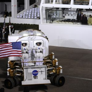 Our replica Mark III advanced spacesuits in President Barrack Obama's inauguration parade.
