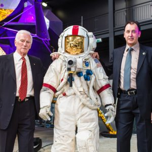 Gene Cernan and museum director Gerhard Daum with a  our replica of Commander Cernan's A7Lb spacesuit