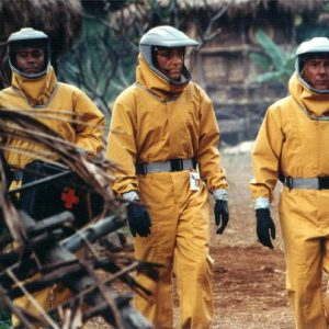 The now iconic bio-hazard suits.  This is yellow