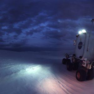 Training replicas of the Mark III advanced spacesuit with NASA advanced rover / Felix & Paul Studios