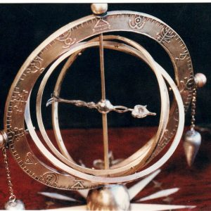 Witch finding compass, mahogany, brass, ivory. / Prop Master Ed Brewer