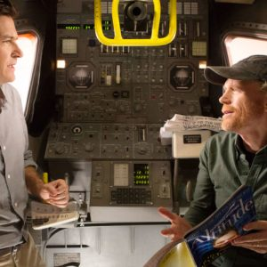 Ron Howard and Jason  Bateman, film a scene for the show