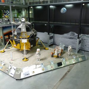 Globals Full size LM, Apollo suis and Lunar rover make up the moon exploration display at this famous German museum