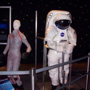 The Mark III represented a new generation of advanced spacesuit. Seen here displayed by a replica of Dava Newman's MCP suit.